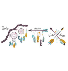 Set of design elements in boho style isolated vector