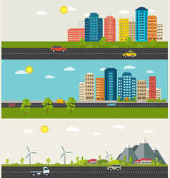 set of urban and suburban landscape vector image