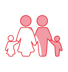silhouette nice family together with parents and vector image