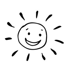 Smiling happy black and white drawing sun in vector