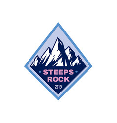 steeps rock - concept badge mountain climbing vector image