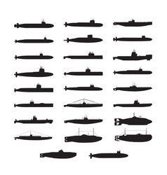 submarine silhouette collection vector image