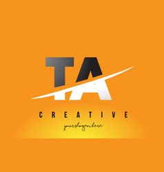 Ta t a letter modern logo design with yellow vector