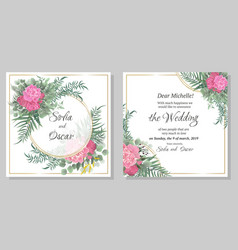 template for wedding invitation round gold frame vector image