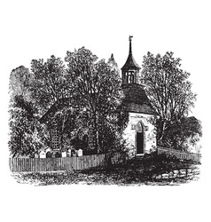 The old church at sleepy hollow vintage vector