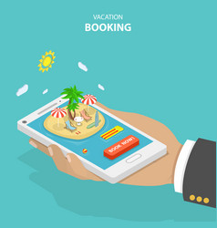 vacation booking flat isometric low poly concept vector image