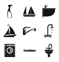 Water event icons set simple style vector