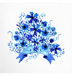 Watercolor hand drawn flowers bouquet vector