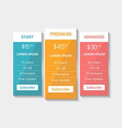 Website hosting plan pricing tables eps vector