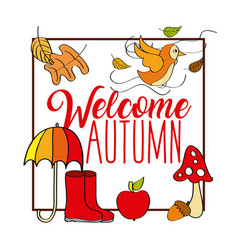 welcome autumn card frame poster bird umbrella vector image