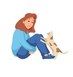 Woman is sitting on floor with frown on her vector