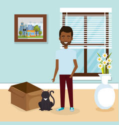 young man with cute mascot in the house vector image