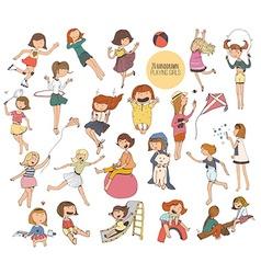 Big set of fun kids in various summer activities vector image vector image