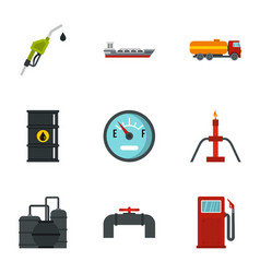 fuel and oil icons set flat style vector image