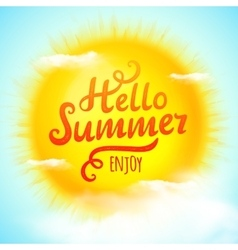 Hello summer typographic inscription on 3D vector image vector image