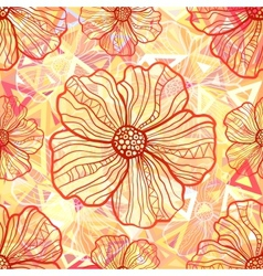 Ornate orange flowers on abstract triangles vector image