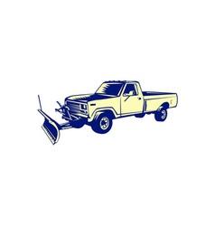 Snow plow truck woodcut vector