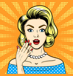 surprised woman pop art style vector image