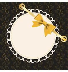 Vintage gold frame on floral background vector image