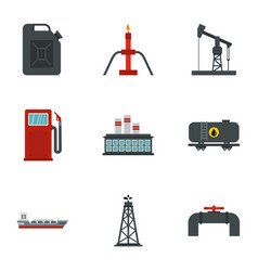 Gasoline processing icons set flat style vector