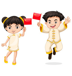 Happy boy and girl holding flag of china vector