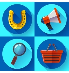 Set icons SEO marketing Flat design style vector image vector image