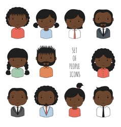 Set of colorful African-American people icons vector image vector image