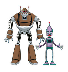 two robot futuristic technologies vector image
