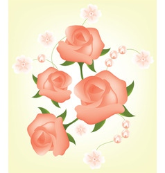 vector abstract background with red roses vector image vector image
