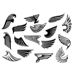 Vintage isolated heraldic wings set vector image