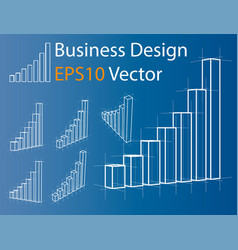 wire-frame graphs set infographics vector image