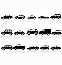 car silhouette icons vector image vector image