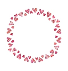 Frame of red hearts on white background vector