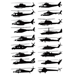military and civilian helicopter silhouettes vector image vector image