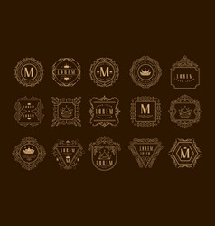 monogram logo template set golden heraldic badge vector image
