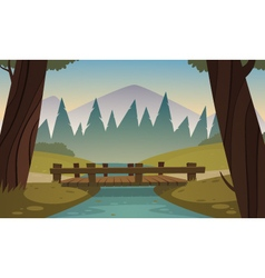 Small wooden bridge vector image