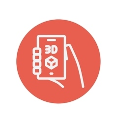 Smartphone with 3D box thin line icon vector image