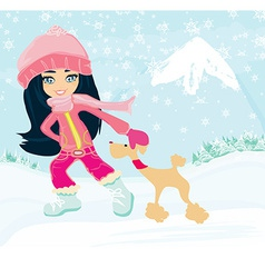 winter girl and her dog vector image vector image