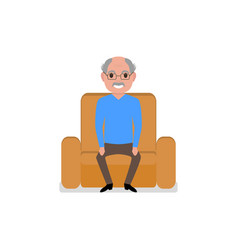 cartoon grandfather sitting in a armchair vector image vector image