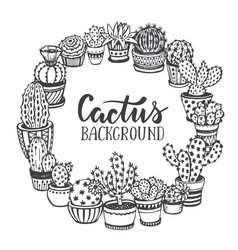 frame with hand drawn cactuses in sketch style vector image