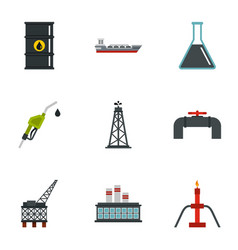 oil industry extraction icons set vector image