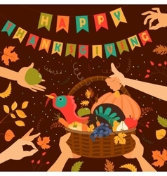 Wooden basket with turkey and vegetables vector image