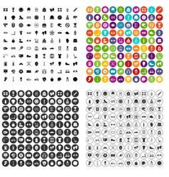 100 sport accessories icons set variant vector image