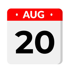 20 august calendar icon vector