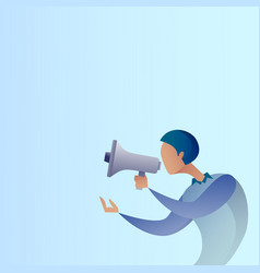 Abstract business man hold megaphone loudspeaker vector