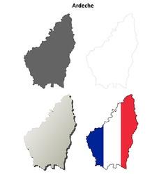 Ardeche rhone-alpes outline map set vector