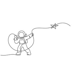 astronaut logo one continuous line drawing vector image