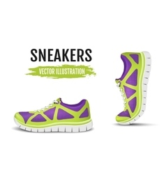 Background of two colorful running shoes vector
