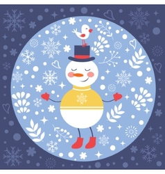 Beautiful Christmas card with snowman and bird vector