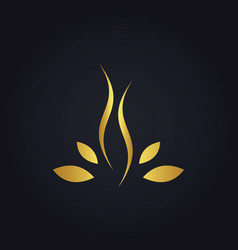 Beauty gold leaf abstract woman logo vector